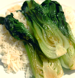 bok choy served over white rice